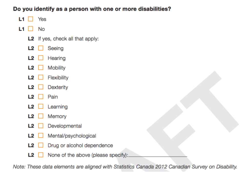 Canada's Census includes a question on disabilities.