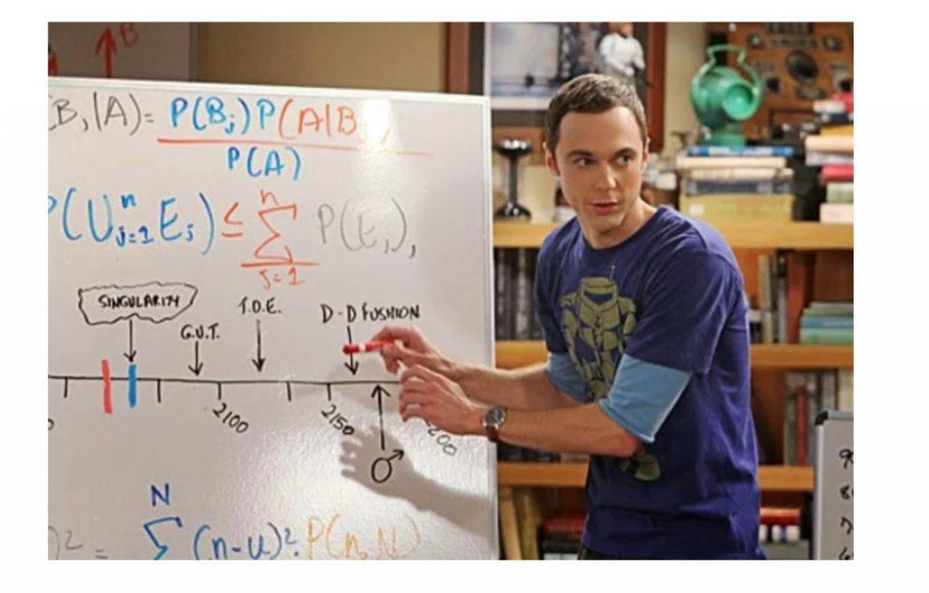 Sheldon uses Bayesian methods to estimate his life expectancy on the Big Bang Theory.