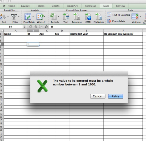 Data entry-test values