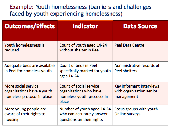 Indicator template example youth homelessness